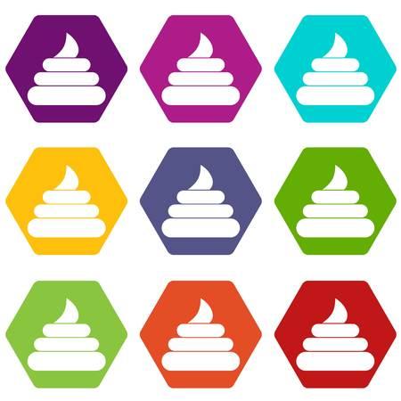 Turd icon set color hexahedron