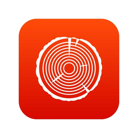 rings on a tree cut: Tree ring icon digital red
