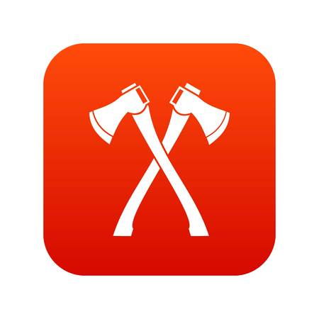 Two crossed axes icon digital red Illustration
