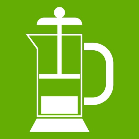 decanter: French press coffee maker icon green
