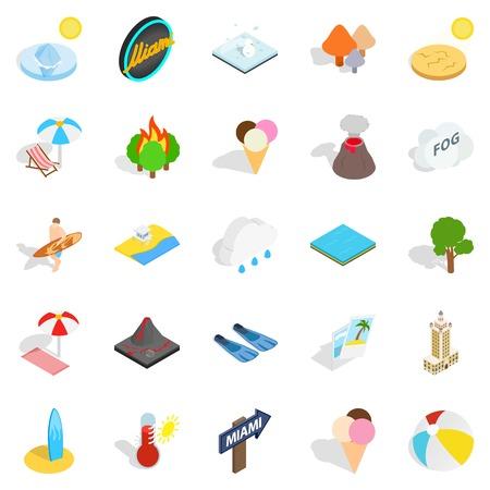 Sunbathe icons set, isometric style Illustration