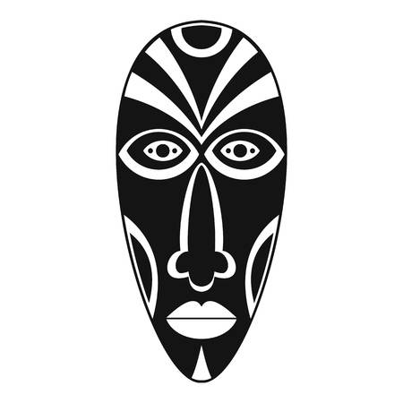 African mask icon, simple style Illustration