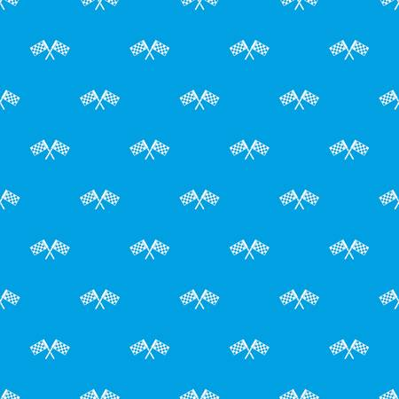 Crossed chequered flags pattern seamless blue