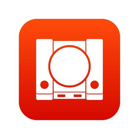Game console icon digital red
