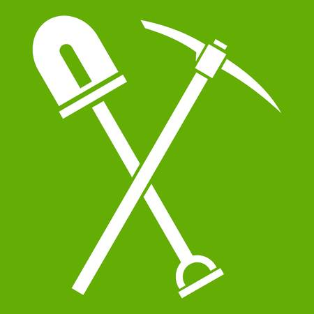 Shovel and pickaxe icon green Illustration