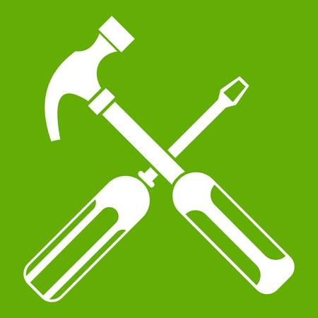 Hammer and screwdriver icon green Illustration