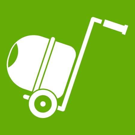 Concrete mixer icon white isolated on green background. Vector illustration Illustration