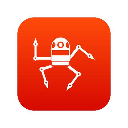 Spider robot icon digital red for any design isolated on white vector illustration