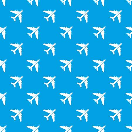 Passenger airliner pattern repeat seamless in blue color for any design. Vector geometric illustration Illustration