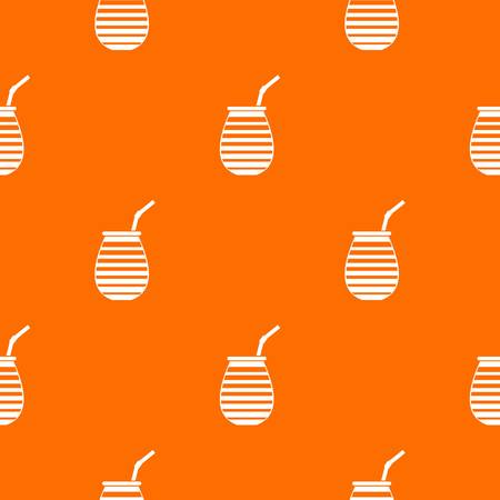 Tea cup used mate or terere in Argentina pattern repeat seamless in orange color for any design. Vector geometric illustration