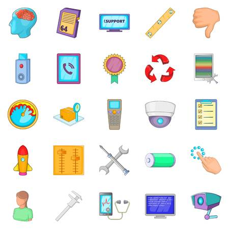 Remote support icons set. Cartoon set of 25 remote support vector icons for web isolated on white background Illustration