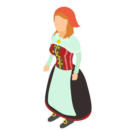 Woman in costume icon, isometric style