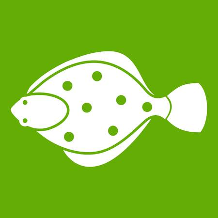 Flounder fish icon green Illustration