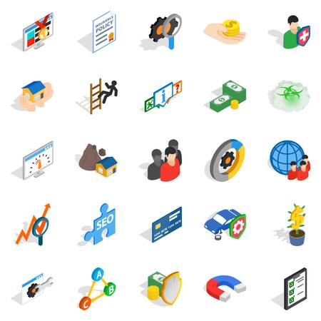 Constant care icons set, isometric style