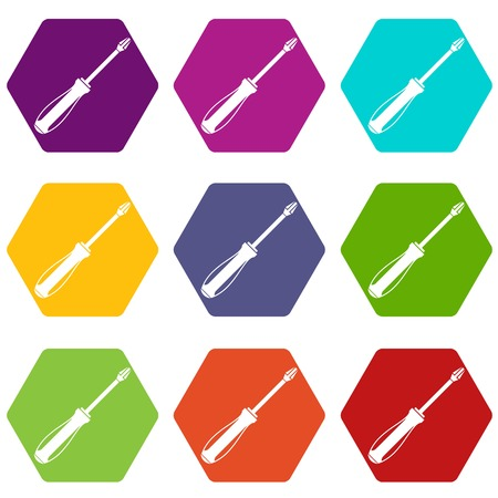Screwdriver icon set color hexahedron