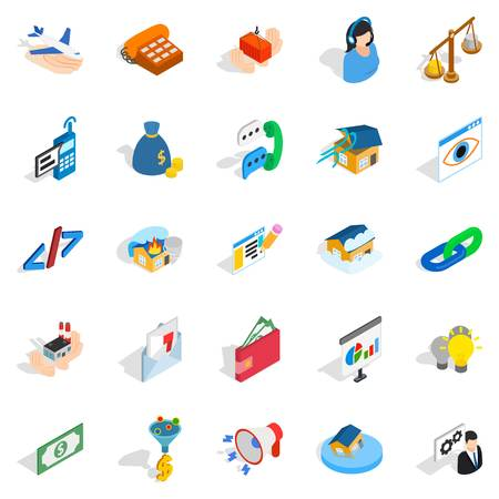 Calling icons set, isometric style Illustration