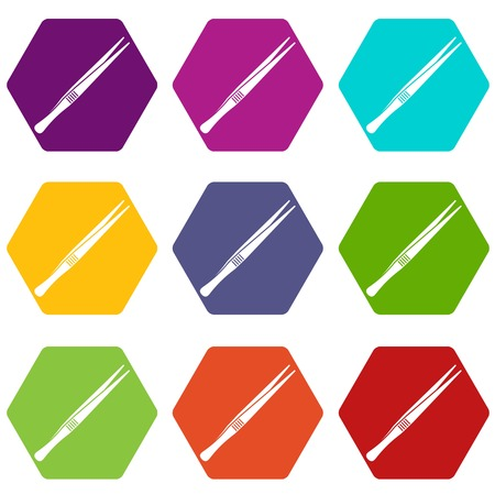 Tweezers icon set color hexahedron Illustration