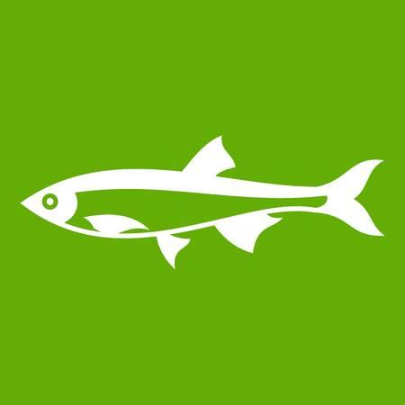 Icona di pesce aringhe bianco isolato su sfondo verde. Illustrazione vettoriale