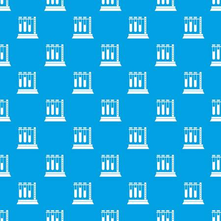Medical test tubes in holder pattern repeat seamless in blue color for any design. Vector geometric illustration