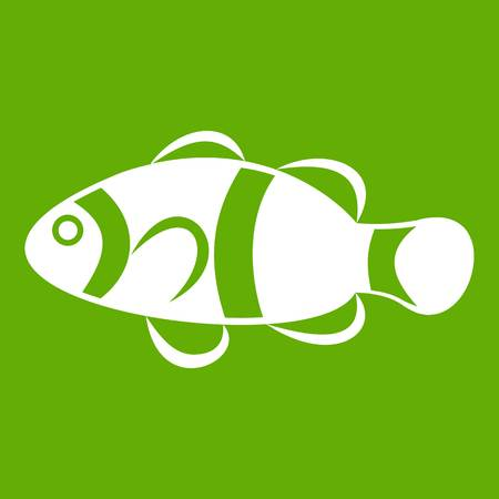 Cute clown fish icon white isolated on green background. Vector illustration