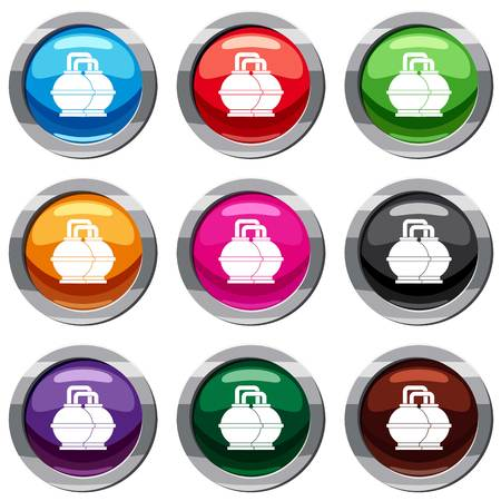 Industrial tanks for petrol and oil set icon isolated on white. 9 icon collection vector illustration Illustration