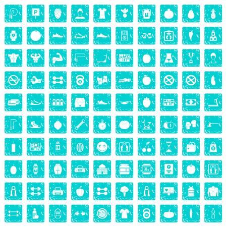100 gymnastiekpictogrammen geplaatst grunge blauw