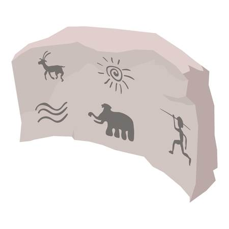 Cave painting icon, isometric style Illustration