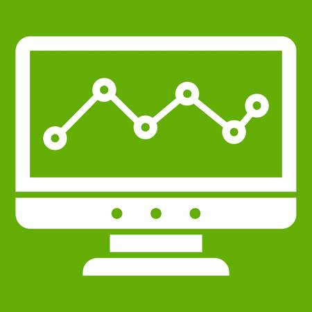 Graph in computer screen icon white isolated on green background. Vector illustration