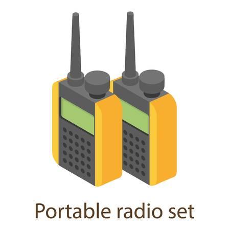 Portable radio icon, isometric style