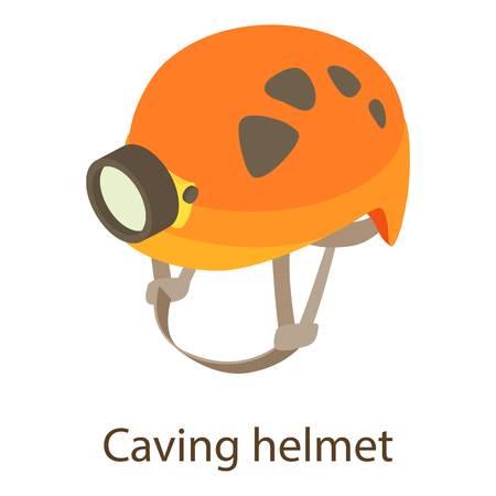 Caving helmet icon, isometric style