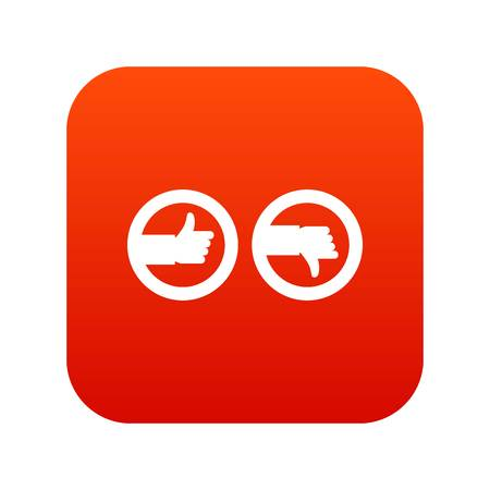 Signs hand up and down icon digital red