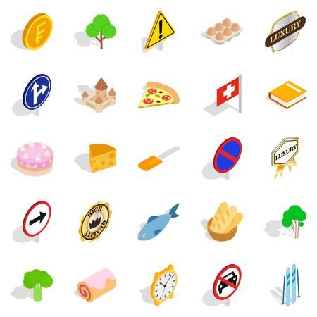 Swiss icons set, isometric style