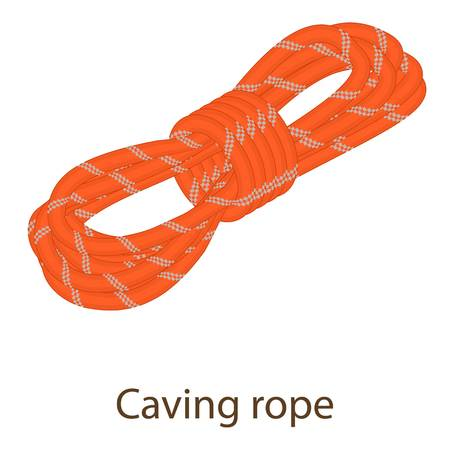 Caving rope icon, isometric style