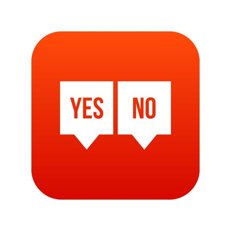 Signs of yes and no icon digital red Stock Vector - 88574672