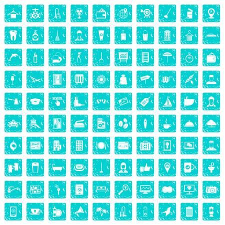 100 hotel services icons set grunge blue