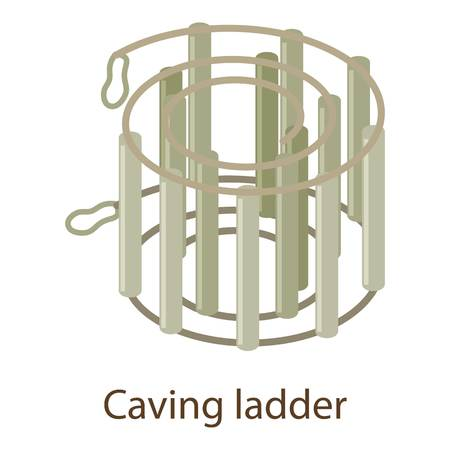 Caving ladder icon, isometric style Illustration