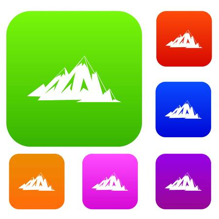 Canadian mountains set color collection