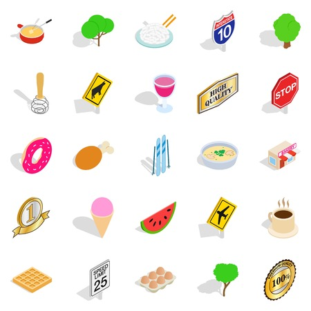 Natural food icons set, isometric style
