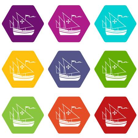 Ship of Columbus icon set color hexahedron Illustration