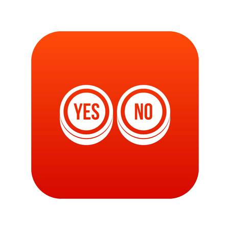 Round signs yes and no icon digital red Illustration