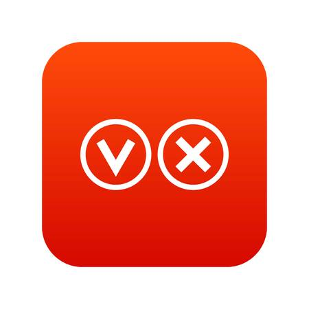 Signs of choice of tick and cross icon digital red