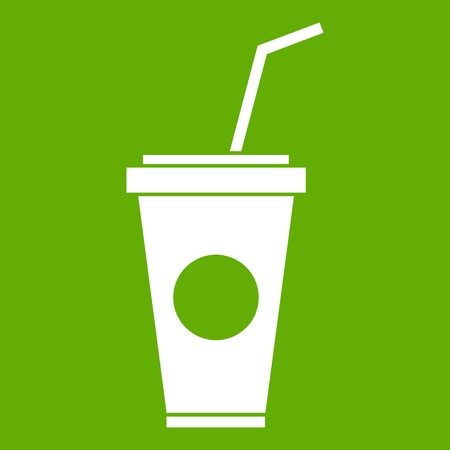 Paper cup with straw icon green Illustration