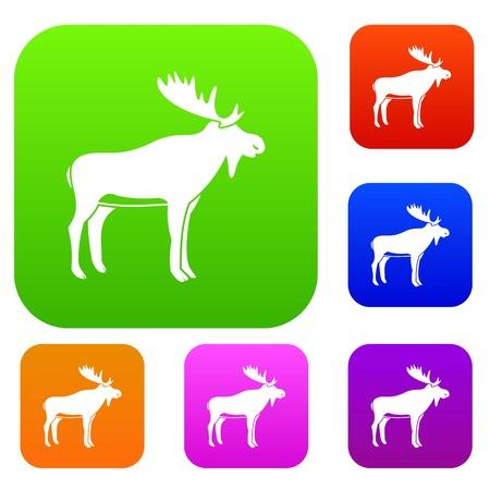 Deer set color collection Illustration