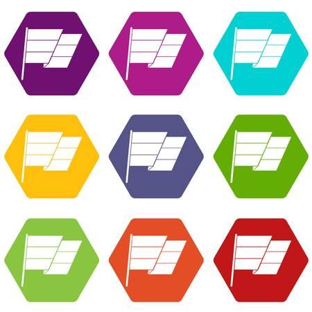 Flag icon set color hexahedron Illustration