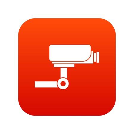 CCTV camera icon digital red