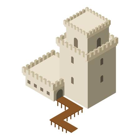 Castle icon, isometric style