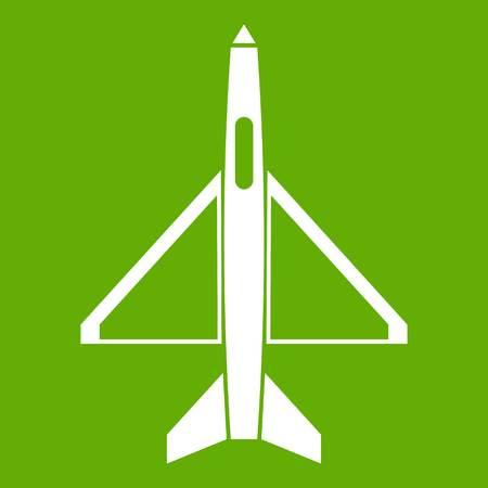 Military aircraft icon green Illustration