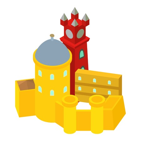 Colored castle icon, isometric style Illustration