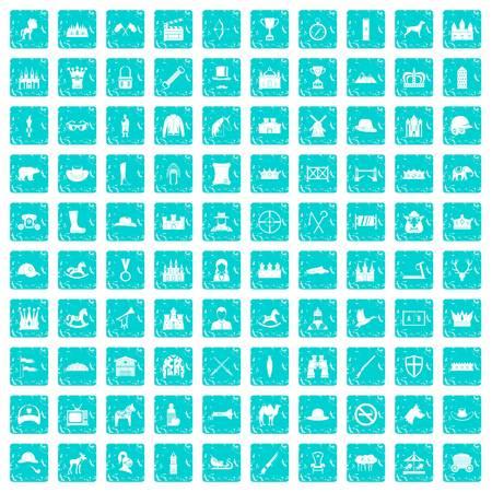 100 horsemanship icons set grunge blue