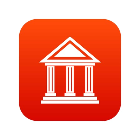 Colonnade icon digital red Illustration